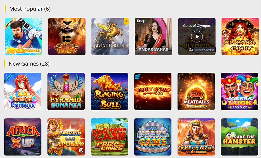 The available games at 10Cric Casino