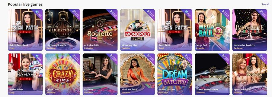 Casino days - Popular live games